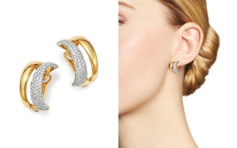 Roberto Coin 18K White & Yellow Gold Scalare Convertible Diamond Earrings - Bloomingdale's_2